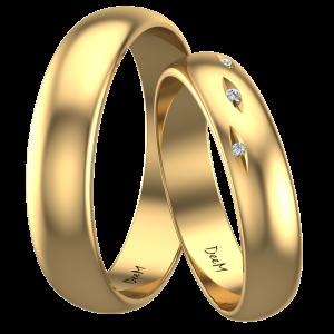 półokrągłe obrączki ślubne z żółtego złota